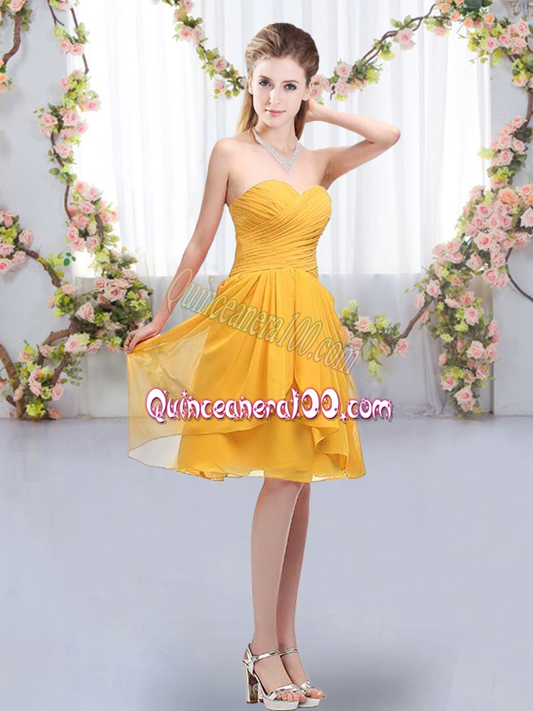 Customized Knee Length Empire Sleeveless Gold Dama Dress for Quinceanera Lace Up