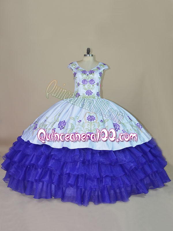 Fashionable Floor Length Blue and Purple Quinceanera Dresses V-neck Sleeveless Lace Up