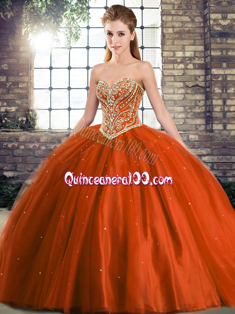 Rust Red Tulle Lace Up Sweet 16 Dress Sleeveless Brush Train Beading