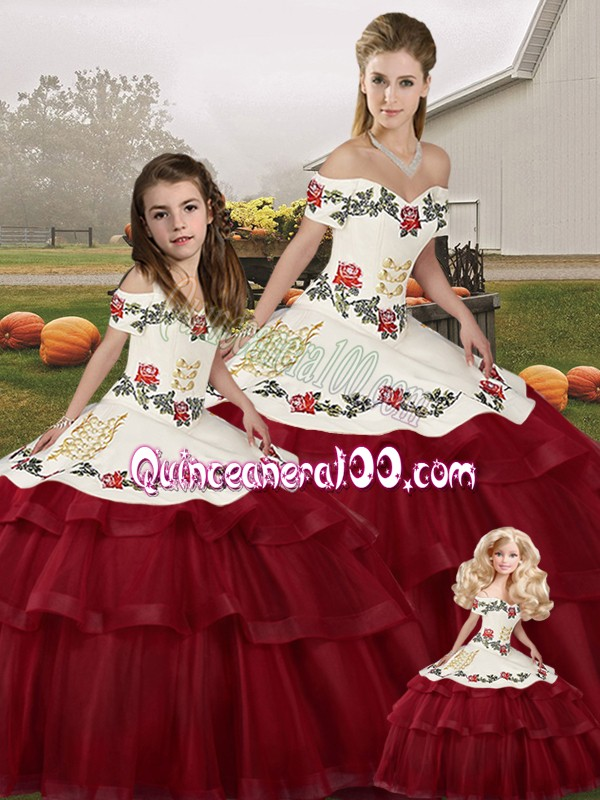 Wine Red Lace Up Quinceanera Gown Embroidery and Ruffled Layers Sleeveless Brush Train