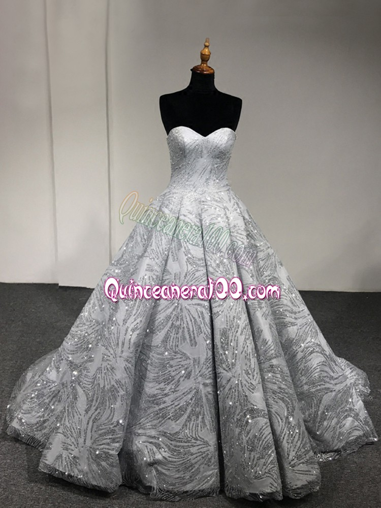 Ball Gowns Vestidos de Quinceanera Silver Sweetheart Sleeveless Floor Length Lace Up