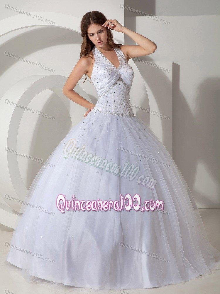 Halter Top Ball Gown White Sweet Sixteen Dresses for Sale with ...