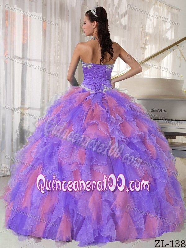 Purple and Pink Ball Gown Quinceanera Dress with White Appliques ...