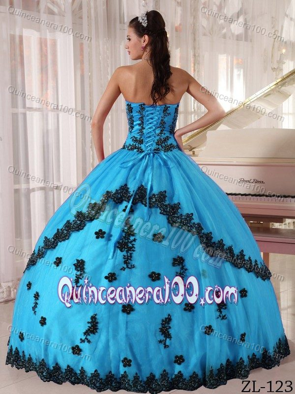 Aqua Blue Ball Gown 2013 Dresses For a Quince with Black Appliques ...