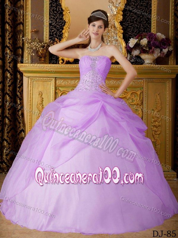 Lilac Strapless Beaded Quinceanera Party Dresses for Rent ...