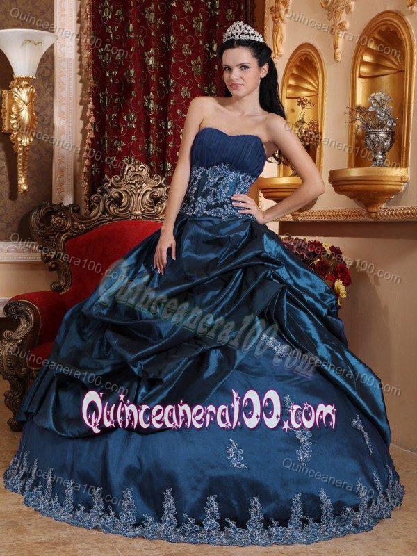 Plus Size Navy Blue Appliqued Sweet 16 Party Dress For Wholesale