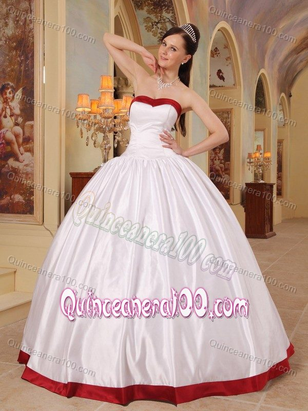 Plus Size Simple Ball Gown White Sweet 15 Dresses with Red Hem ...