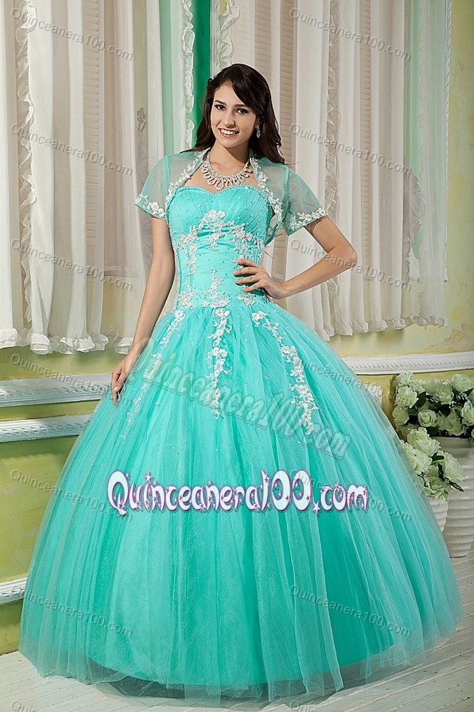 9d369a13cba Turquoise Sweetheart Appliques Capelet Dress for Sweet 15 ...