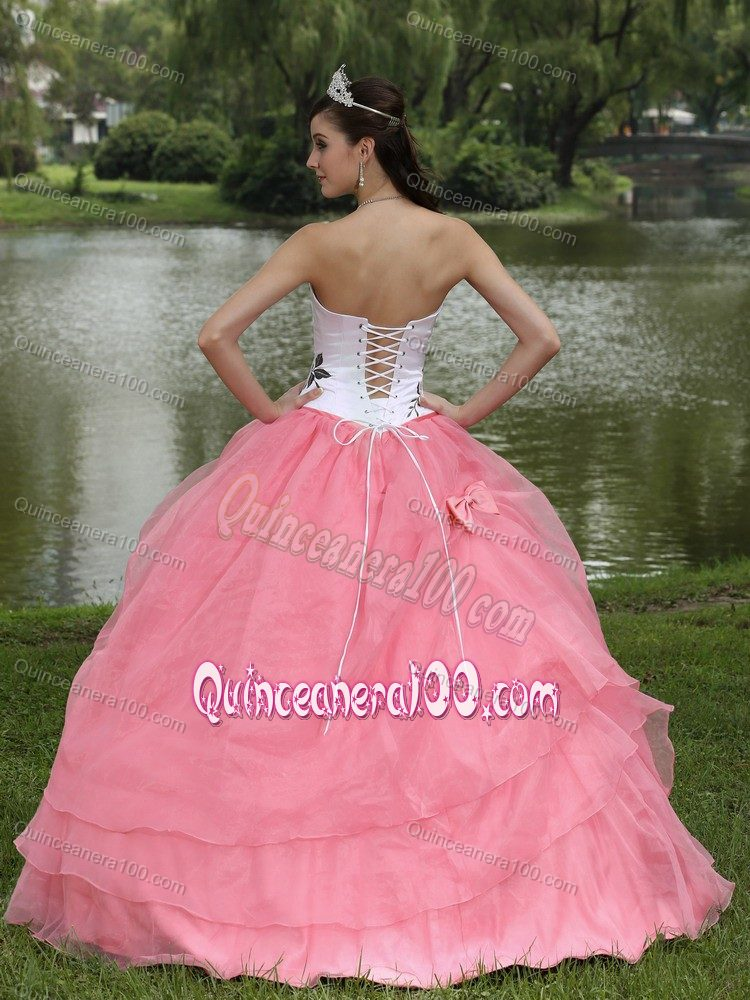 Pink and White Embroidery Strapless Quince Dresses with Bow ...