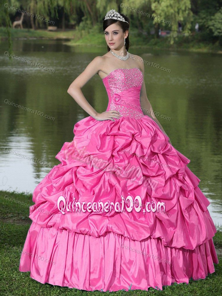 Hot Pink Strapless Pick-ups and Pleats Beading Quinceanera Dresses ...