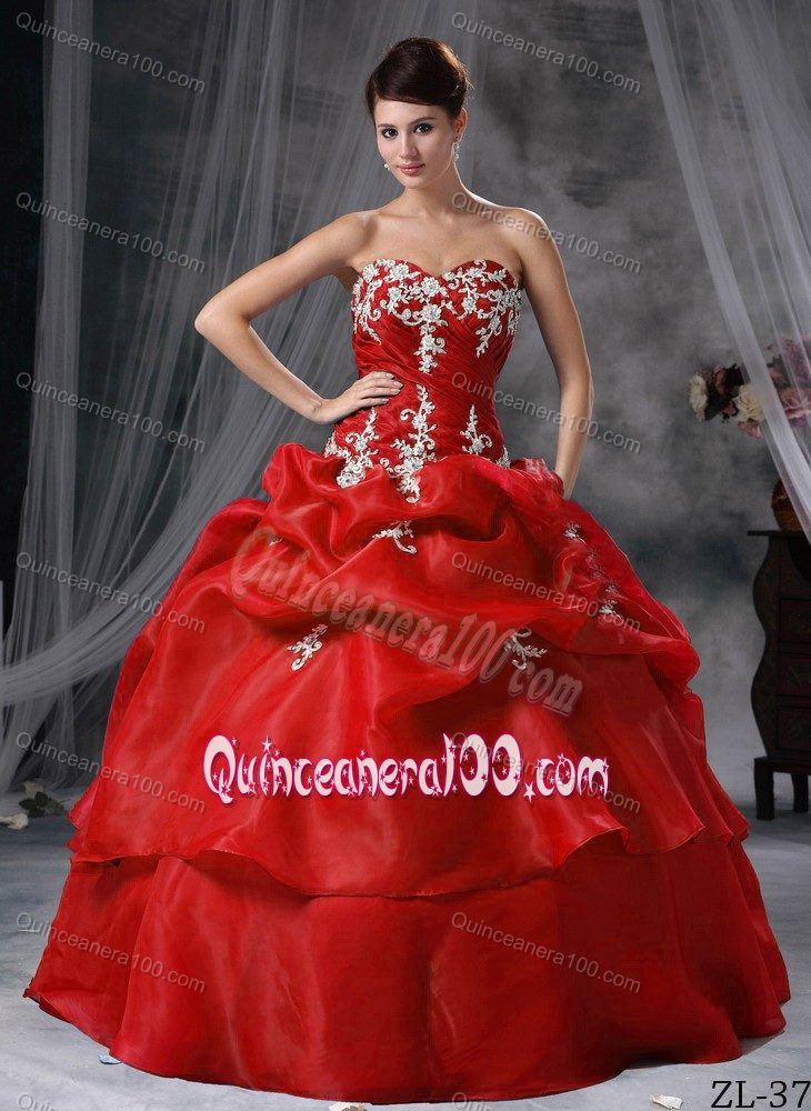 c507fcf2c4 Red Puffy Sweetheart Appliques and Pick-ups Tiered Quince Dresses. triumph