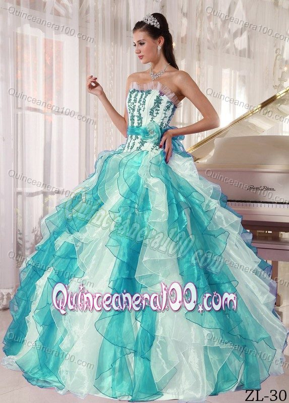 Colorful Ball Gown Strapless Organza Beading Sweet 15 Dresses ...