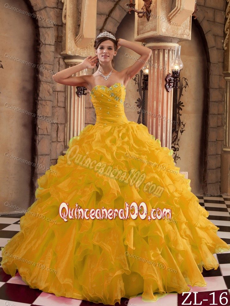 2013 Gold Sweet 15 Dresses with Ruffled Organza On Sale ...