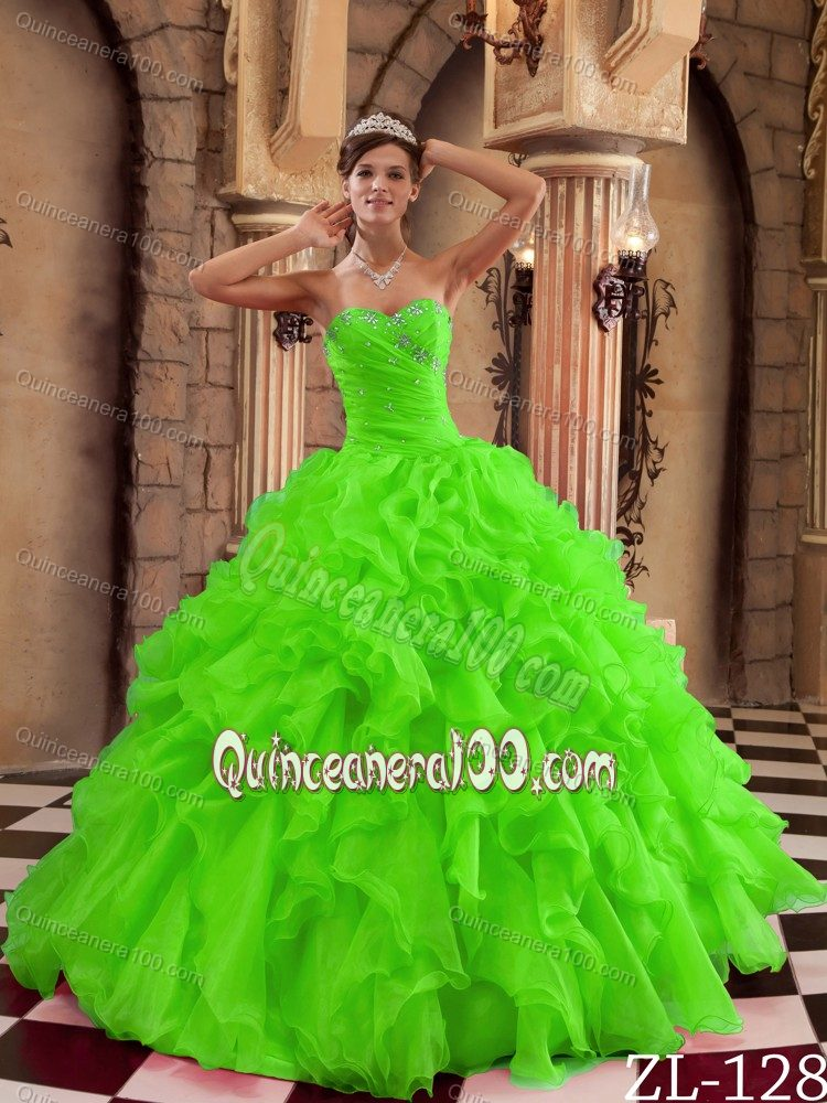 Pretty Spring Green Ruffled Organza Sweet 15 Dresses - Quinceanera 100