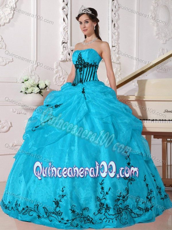 Blue Organza Dress for Quinceaneras with Black Appliques ...