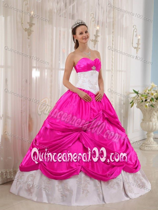 Pink And White Quinceanera Dresses & Gowns - Quinceanera 100