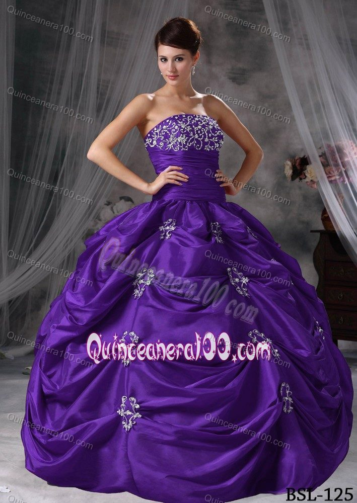 Purple Ball Gown Ruched Appliques Quince Dresses with Pick-ups ...
