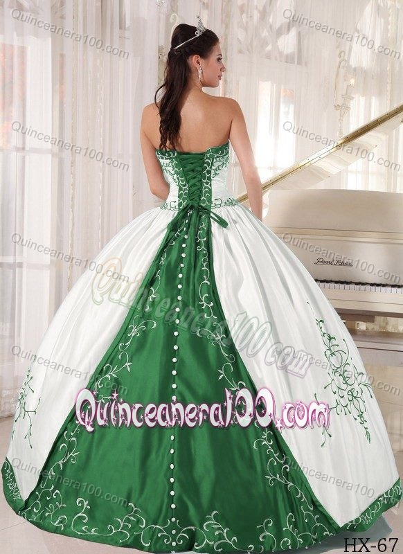 Simple Strapless White and Green Embroidery Sweet 15 Dresses ...