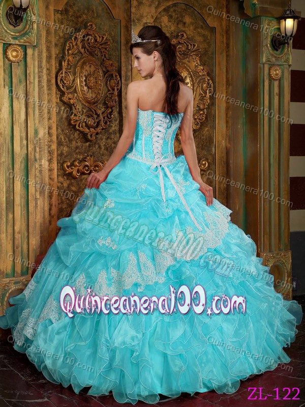 Baby Blue Strapless Ruffled Quinceanera Dresses with Pick-ups ...