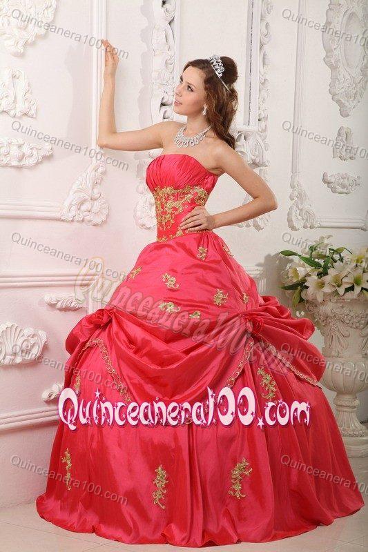Red Princess Dress Coral red princess appliquesPrincess Dresses For Sweet 15