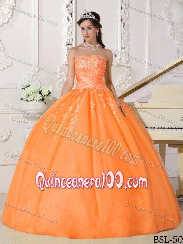 912da0fadae Orange Strapless Taffeta and Tulle Sweet Sixteen Dresses ...
