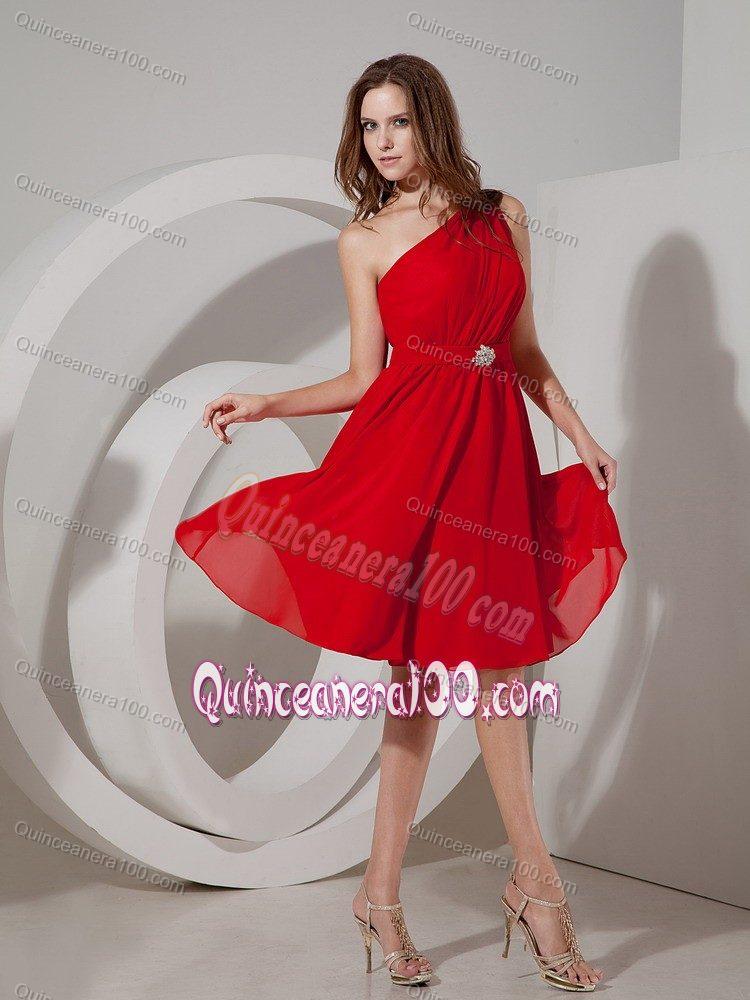 Wine Red One Shoulder Chiffon Knee Length Dama Dress For