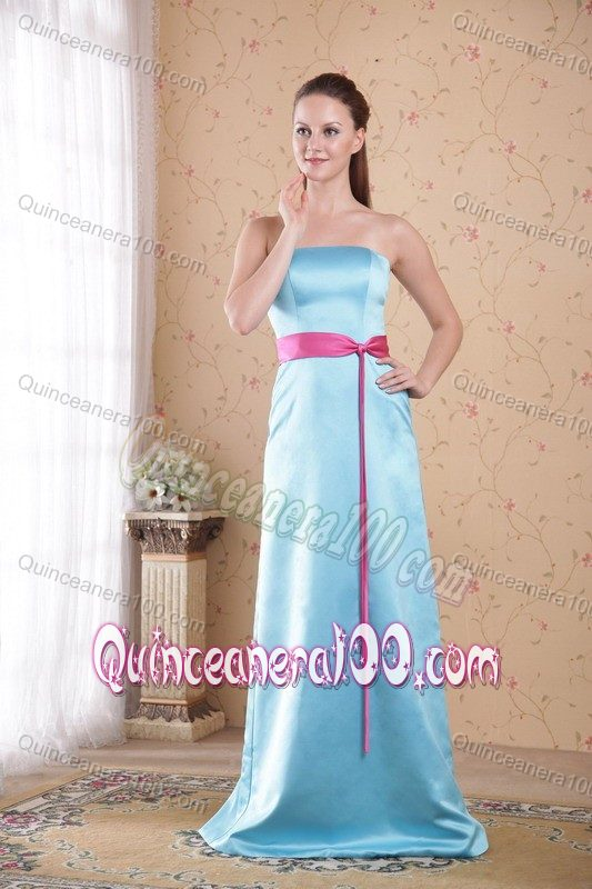 Satin Light Blue Dama Dress with a Brush Train and a Sash