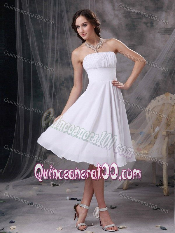Chiffon White Sweet 15 Dama Dress with Ruches in Knee-length ...