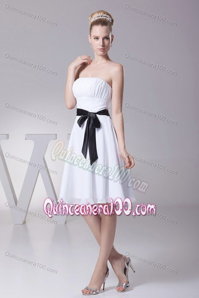 7938730af51 White Knee-length Chiffon Dama Dress with a Black Sashes ...