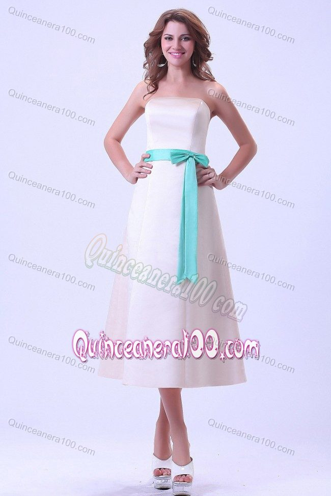 Champagne Tea-length Satin Dama Dress With a Turquoise Sash ...
