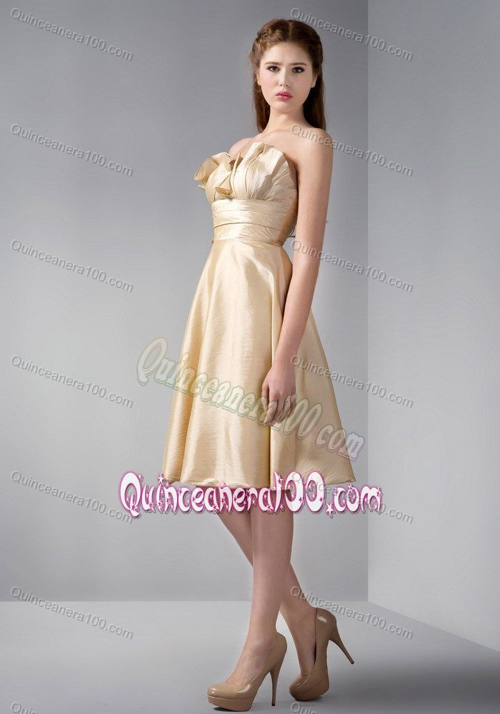 Elegant Empire Strapless Knee-length Gold Dama Dress with Ruches ...