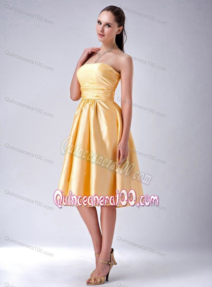 Amazing Gold Empire Strapless Bowknot Satin Dama Dress Tea-length ...