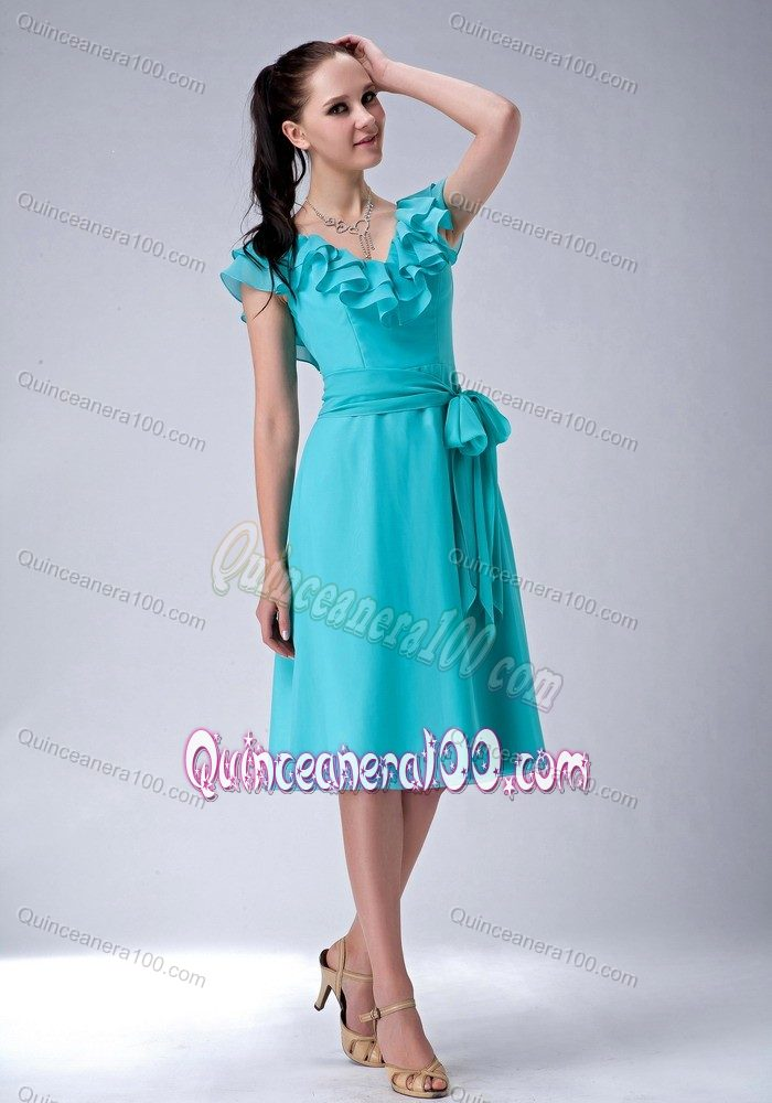 Turquoise Empire V-neck Tea-length Ruffles Dama Dress with Sash ...