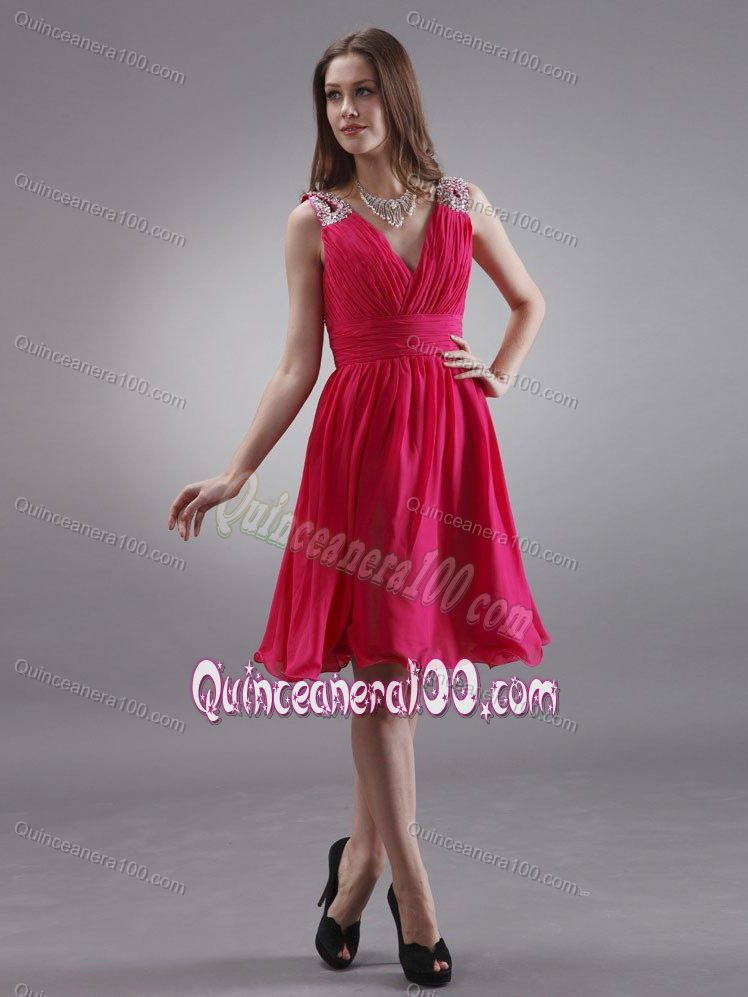 f38593033b6 V-neck Red Dama Dress with Beading and Ruching Knee-length. triumph