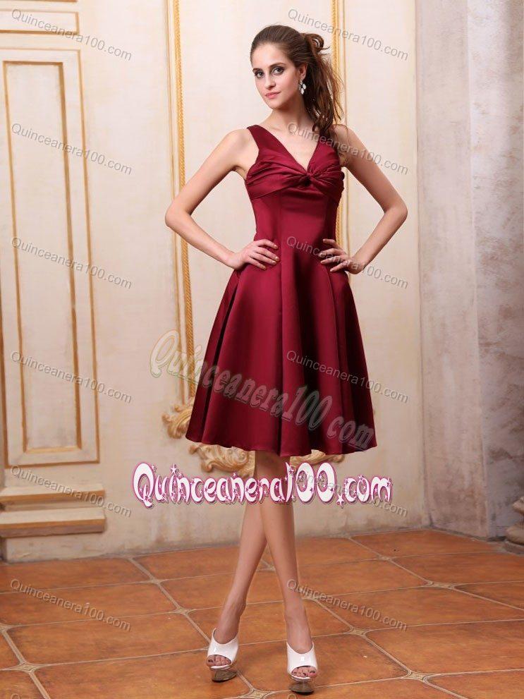 e2c20a1e8 Elegant V-neck A-line Knee-length Burgundy Dama Dress with Bow ...
