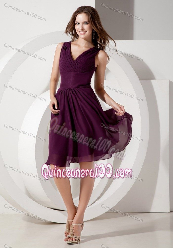 a5b9cd30be3 Beading Dark Purple V-neck Chiffon Dama Dress Empire Knee-length. triumph