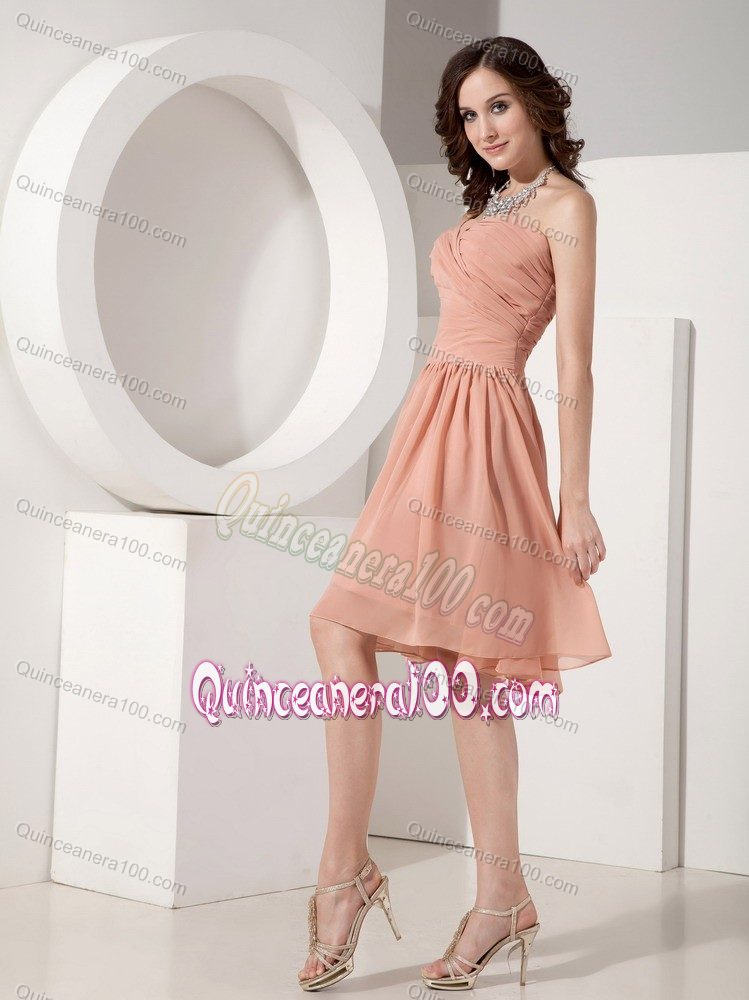 Peach Sweetheart Empire Chiffon Ruched Dama Dress Knee Length