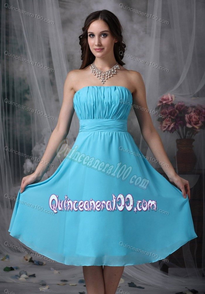Empire Strapless Aqua Blue Knee-length Chiffon Ruche Dama Dress ...