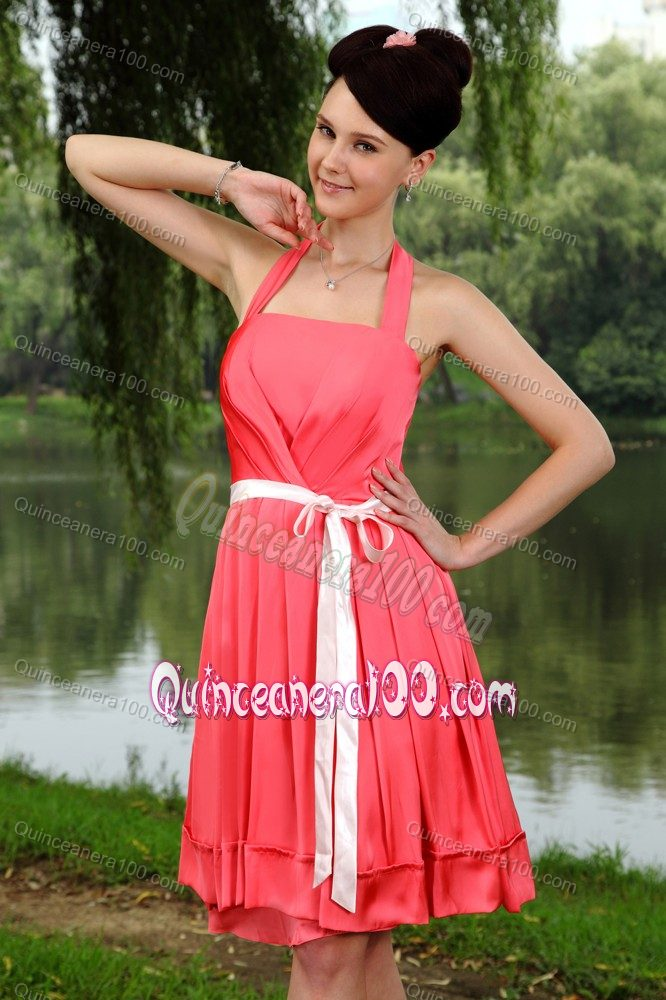d8b1b88e36 Coral Red Empire Halter Sashes Knee-length Bridesmaid Dama Dresses ...