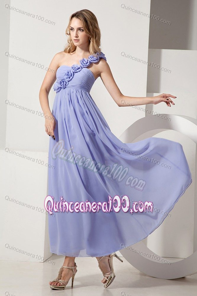 Lilac Ankle-length One Shoulder Hand Made Flowers 15 Dresses For ...