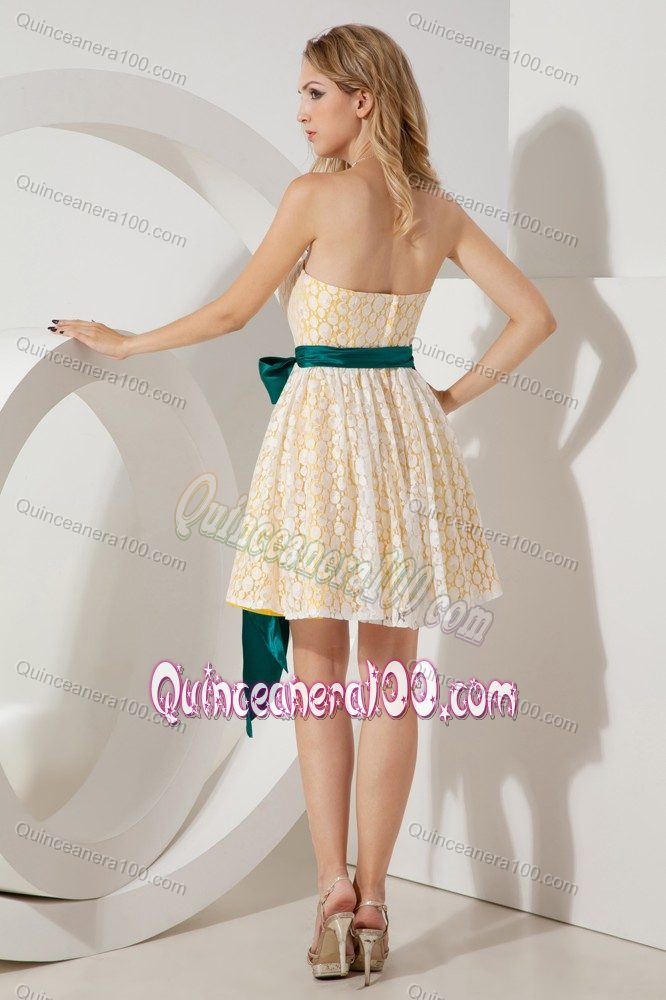 Yellow Strapless Mini Length Lace 15 Dresses For Damas