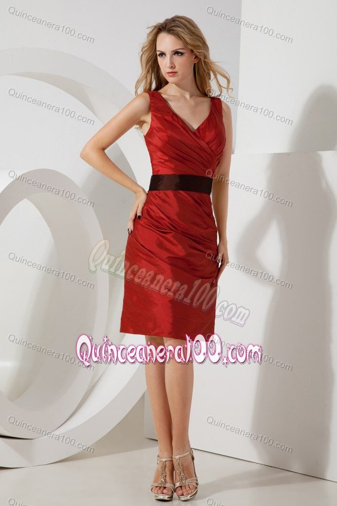 31aeceb2aeb Red Column V-neck Ruching Damas Dresses For Quince Mini-length Sash ...
