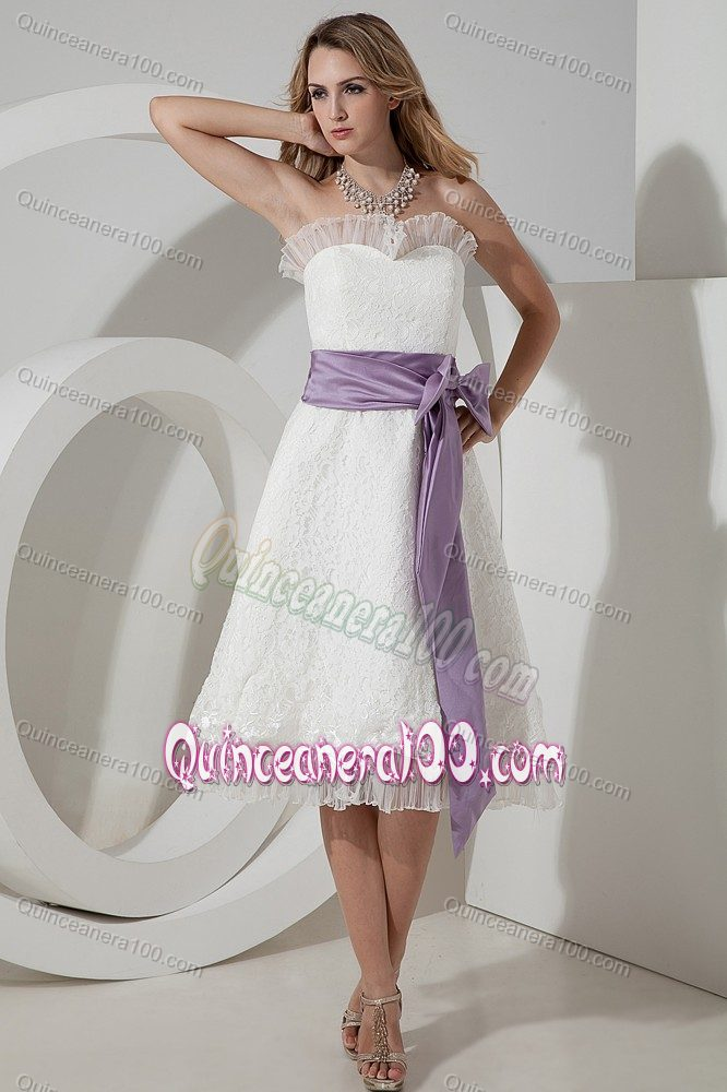 A-line Strapless ea-length Lace with Purple Bow Dresses For Damas ...
