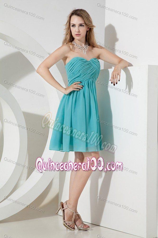 Turquoise Princess Sweetheart Knee-length Ruching Quince Dama ...