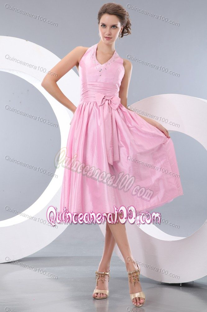 Pink Halter Tea-length Prom Dresses For Dama with Cute Bowknot ...