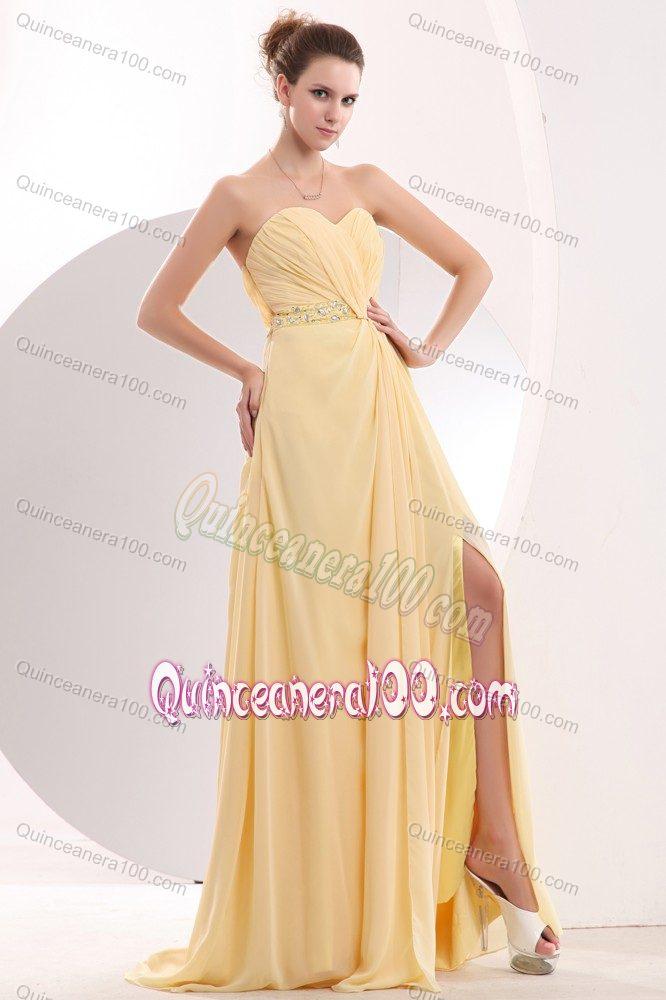 Light Yellow Sweetheart Brush Train 15 Dresses For Damas