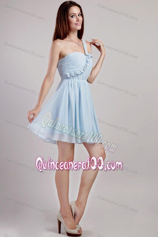 Light Blue Empire One Shoulder Mini-length Dama Dresses For ...