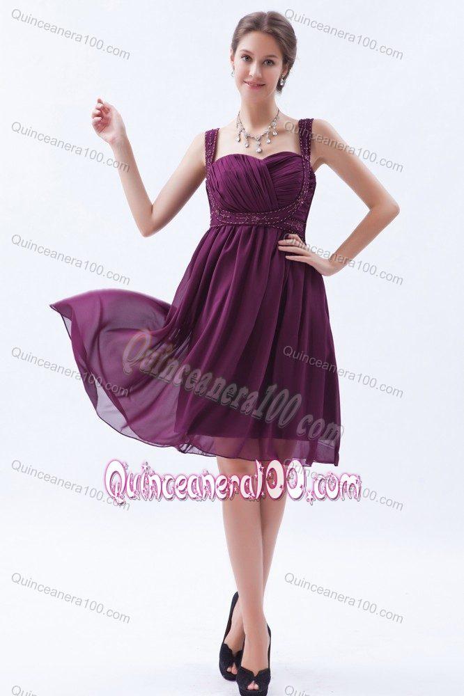 Dark Purple Beaded Straps Chiffon Cocktail Dresses for Dama ...