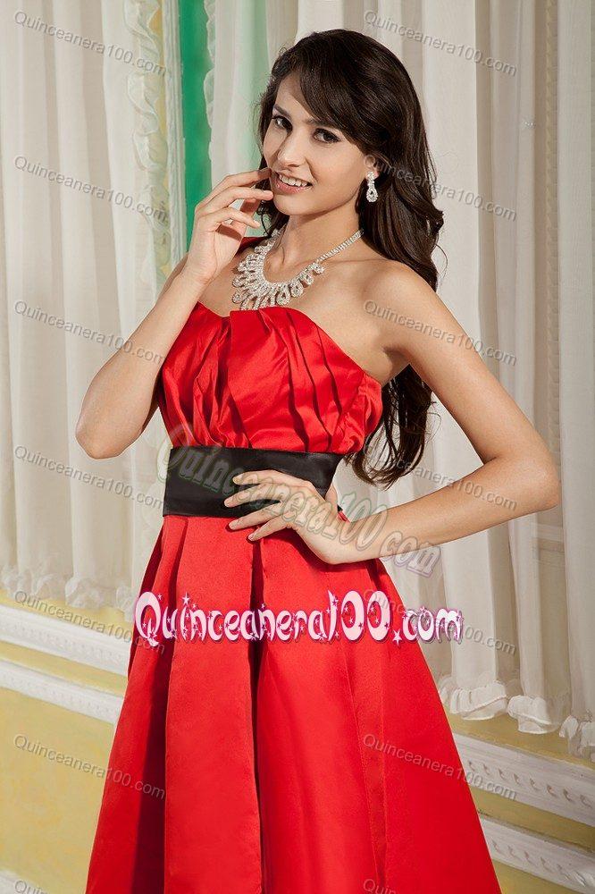 Red And Black One Shoulder Knee Length Dama Dress For