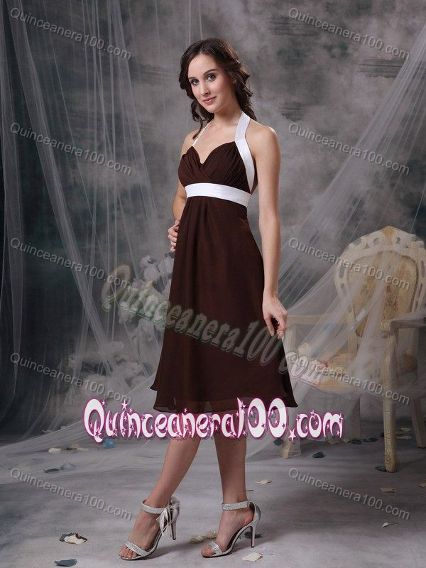 Cheap Fall Brown Dresses Brown and White Cheap Halter